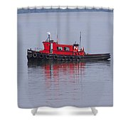 Red Tug On Lake Superior Shower Curtain