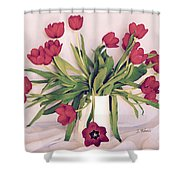 Red Tulips In Full Bloom Shower Curtain