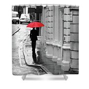 Red Umbrella In London Shower Curtain