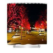 Red Urban Trees Shower Curtain