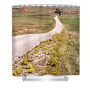 Red Valley Road Shower Curtain