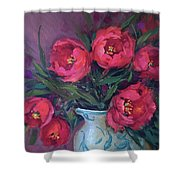 Red Velvet Tulips Shower Curtain