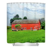 Red Vermont Barn Shower Curtain