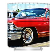 Red Vintage Cadillac Shower Curtain