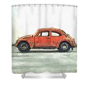 Red Vw Beetle Bug Pencil Shower Curtain