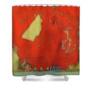 Red Wall With Boot  Shower Curtain
