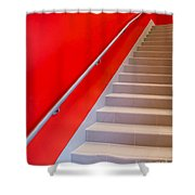 Red Walls Staircase Shower Curtain