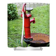 Red Water Pump Shower Curtain