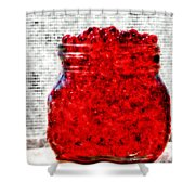 Red Watercolor Beads Shower Curtain
