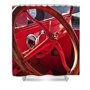 Red Wheel Shower Curtain