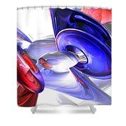 Red White And Blue Abstract Shower Curtain by Alexander Butler