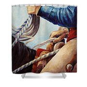 Red White And Blue American Cowboy Art Shower Curtain