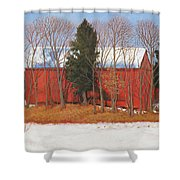 Red White And Blue Barn Shower Curtain