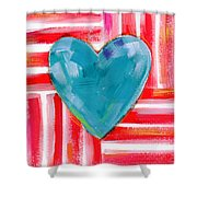 Red White And Blue Love- Art By Linda Woods Shower Curtain