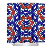 Red White And Blue Star Flowers 1- Pattern Art By Linda Woods Shower Curtain