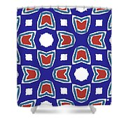 Red White And Blue Tulips Pattern- Art By Linda Woods Shower Curtain
