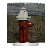 Red  White Hydrant Shower Curtain