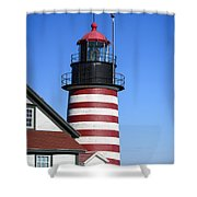 Red White Striped Lighthouse Shower Curtain