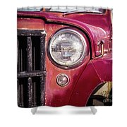 Red Willys Jeep Truck Shower Curtain