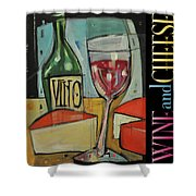 Red Wine And Cheese Poster Shower Curtain