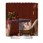 Red Wineglass Shower Curtain by Corey Ford