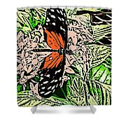 Red Winged Butterfly Shower Curtain