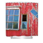 Red Wood And Windows Shower Curtain