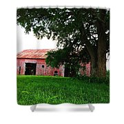 Red Wood Barn Shower Curtain