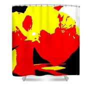 Red Yellow Abstract Shower Curtain