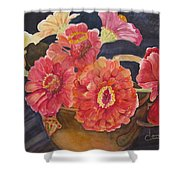 Red Zinnias Shower Curtain