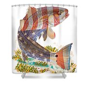 Redfish, White And Blue Shower Curtain
