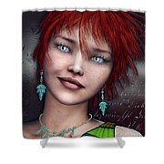 Redhead Shower Curtain by Jutta Maria Pusl