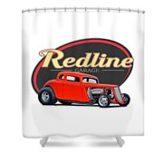 Redline Hot Rod Garage Shower Curtain
