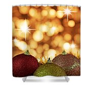 Red,yellow And Gold Cristmas Baubles Shower Curtain