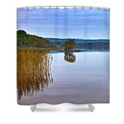 Reeds And An Islet In Lough Macnean Shower Curtain