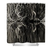 Reeds And Heron Shower Curtain