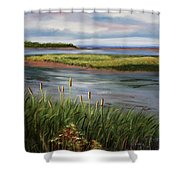 Reeds By The Water Shower Curtain