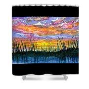 Reedy Sunset Shower Curtain