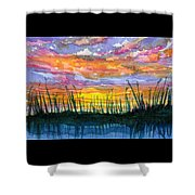 Reedy Sunset Shower Curtain