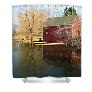 Reflectiion In Red Shower Curtain