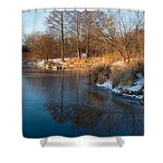 Reflecting In Threes - Three Trees By The Lake Shower Curtain