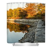 Reflecting On Autumn - Gray Rocks Highlighting The Foliage Brilliance Shower Curtain