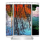 Reflecting On Autumn - Triptych Shower Curtain