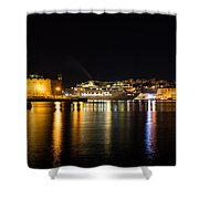 Reflecting On Malta - Cruising Out Of Valletta Grand Harbour Shower Curtain