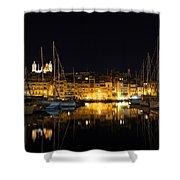 Reflecting On Malta - Senglea Golden Night Magic Shower Curtain