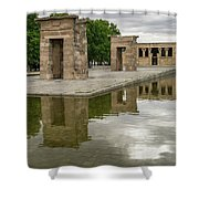 Reflecting On Millennia - Egyptian Temple Of Debod In Madrid Spain  Shower Curtain