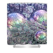 Reflecting Spheres In Space Shower Curtain