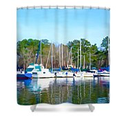 Reflecting The Masts - Watercolor Style Shower Curtain