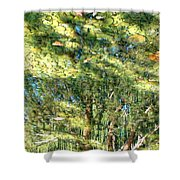 Reflecting Trees On Quiet Pond Shower Curtain