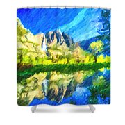 Reflection In Merced River Of Yosemite Waterfalls Shower Curtain